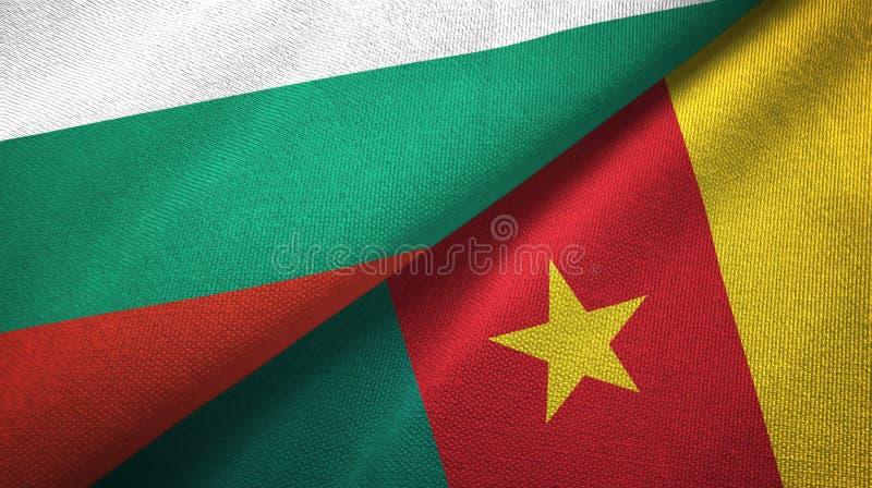 Bułgaria i Cameroon dwa flagi tekstylny płótno, tkaniny tekstura ilustracji