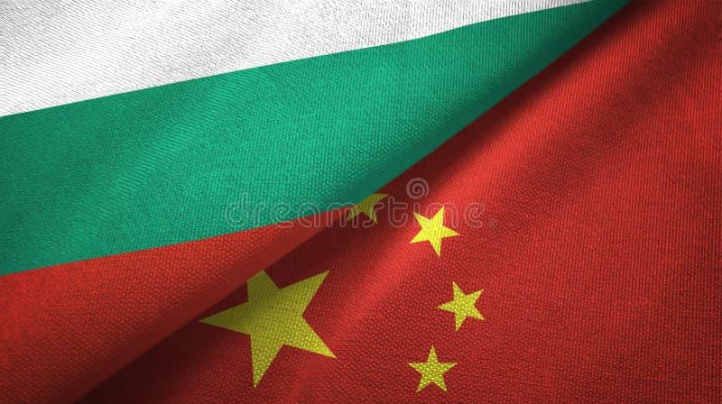 Bułgaria i Chiny dwa flagi tekstylny płótno, tkaniny tekstura ilustracja wektor