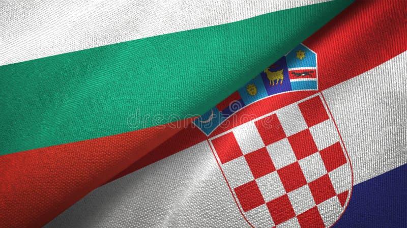 Bułgaria i Chorwacja dwa flagi tekstylny płótno, tkaniny tekstura royalty ilustracja