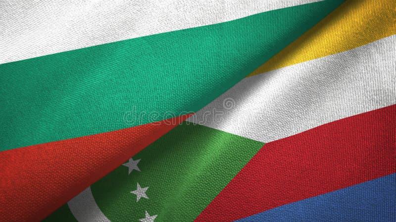 Bułgaria i Comoros dwa flagi tekstylny płótno, tkaniny tekstura ilustracja wektor
