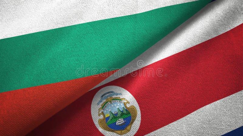 Bułgaria i Costa Rica dwa flagi tekstylny płótno, tkaniny tekstura ilustracji