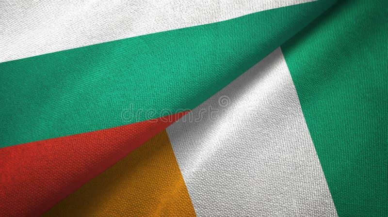 Bułgaria i Cote d'Ivoire Z kości słoniowej wybrzeża dwa flag tekstylnej tkaniny tekstura royalty ilustracja