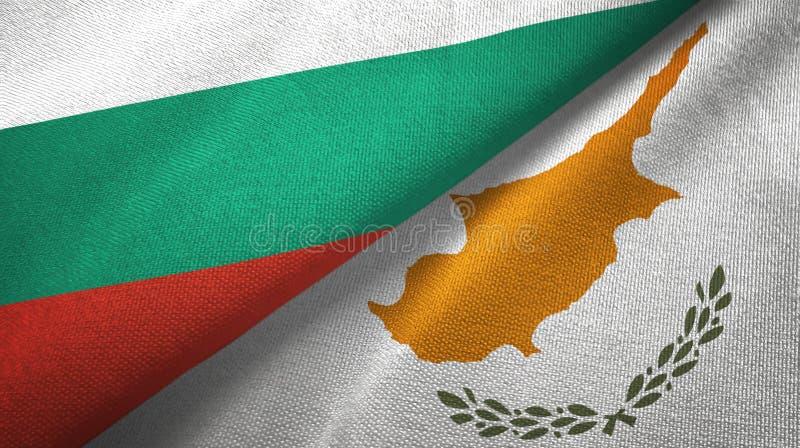 Bułgaria i Cypr dwa flagi tekstylny płótno, tkaniny tekstura royalty ilustracja