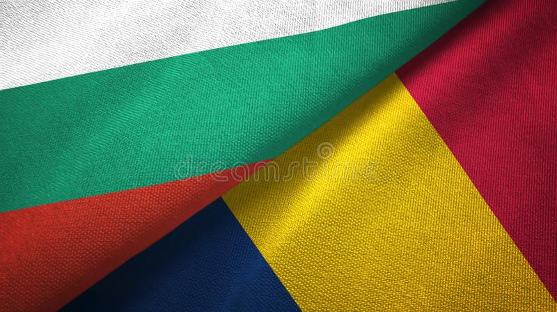 Bułgaria i Czad dwa flagi tekstylny płótno, tkaniny tekstura ilustracji