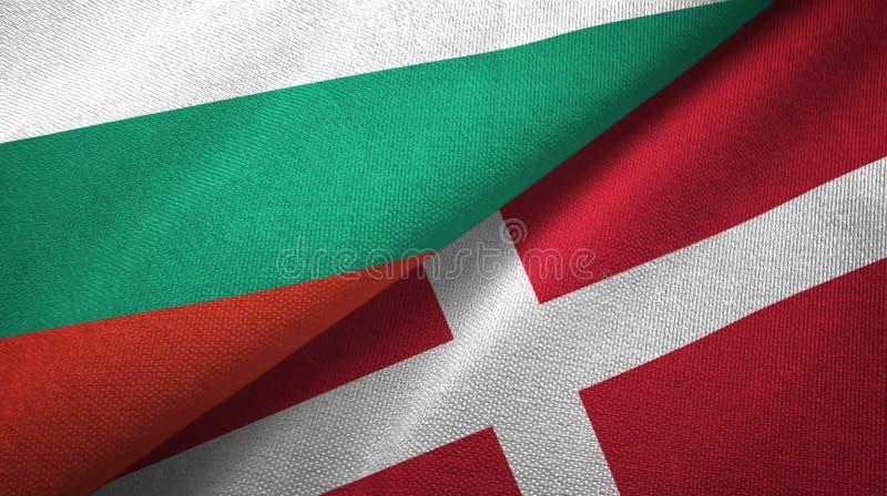 Bułgaria i Dani dwa flagi tekstylny płótno, tkaniny tekstura ilustracji