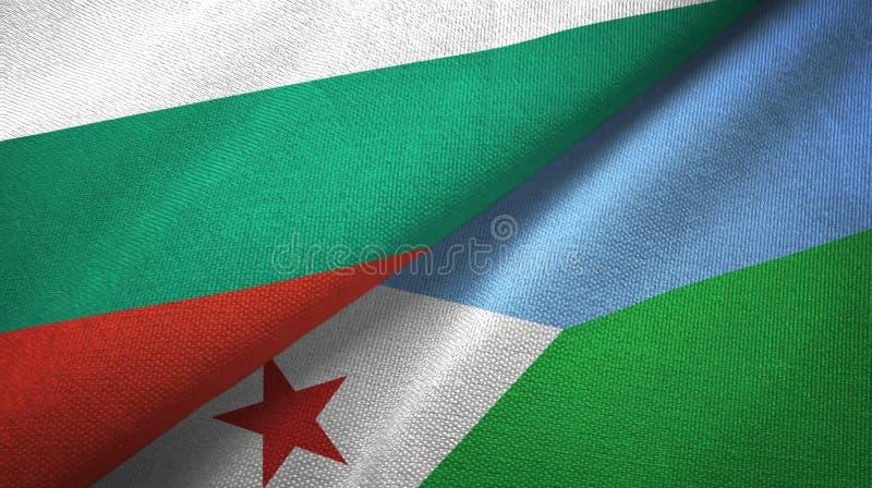 Bułgaria i Djibouti dwa flagi tekstylny płótno, tkaniny tekstura royalty ilustracja