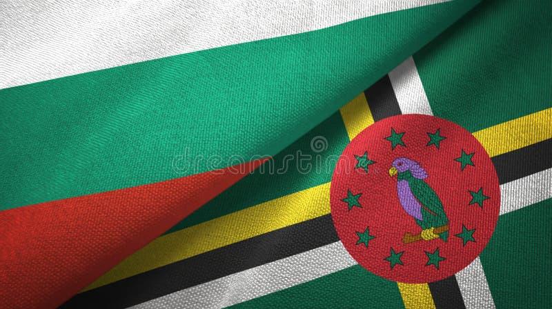Bułgaria i Dominica dwa flagi tekstylny płótno, tkaniny tekstura ilustracji