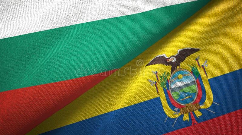 Bułgaria i Ekwador dwa flagi tekstylny płótno, tkaniny tekstura ilustracja wektor
