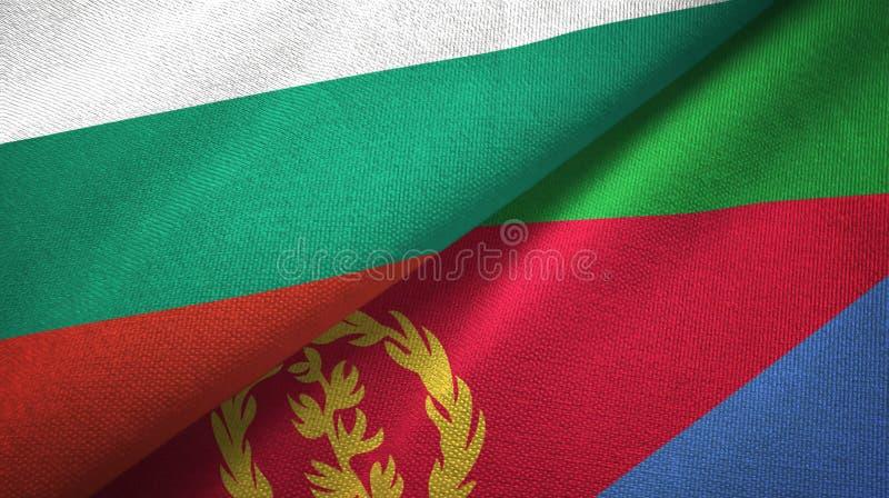Bułgaria i Erytrea dwa flagi tekstylny płótno, tkaniny tekstura ilustracja wektor