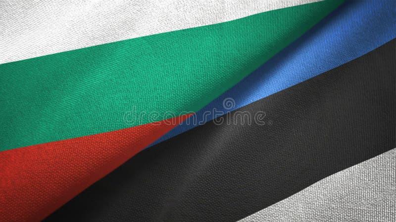 Bułgaria i Estonia dwa flagi tekstylny płótno, tkaniny tekstura royalty ilustracja