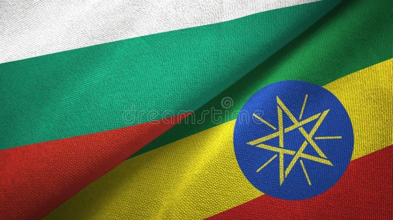 Bułgaria i Etiopia dwa flagi tekstylny płótno, tkaniny tekstura ilustracji