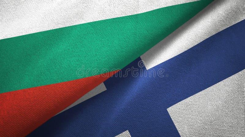 Bułgaria i Finlandia dwa flagi tekstylny płótno, tkaniny tekstura ilustracji