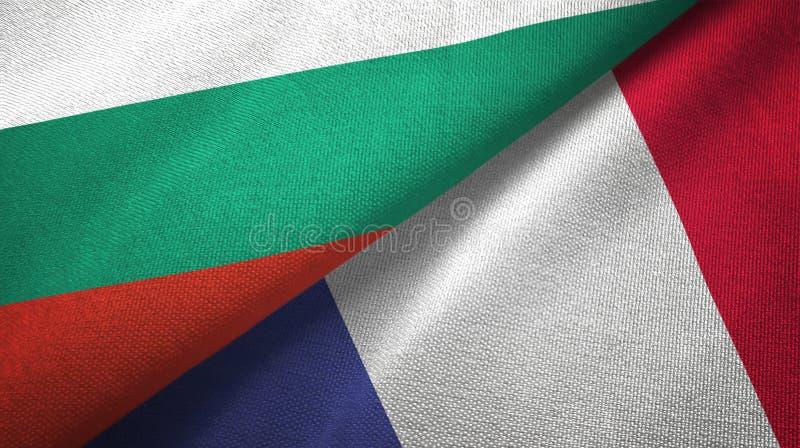 Bułgaria i Francja dwa flagi tekstylny płótno, tkaniny tekstura ilustracja wektor