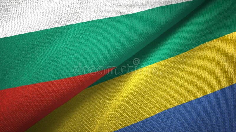 Bułgaria i Gabon dwa flagi tekstylny płótno, tkaniny tekstura royalty ilustracja