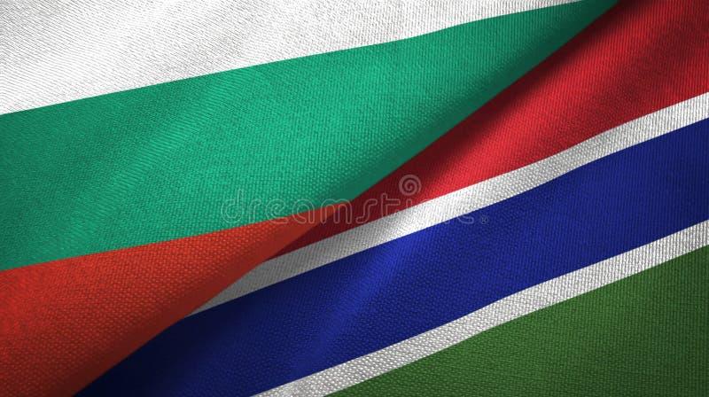 Bułgaria i Gambia dwa flagi tekstylny płótno, tkaniny tekstura ilustracja wektor