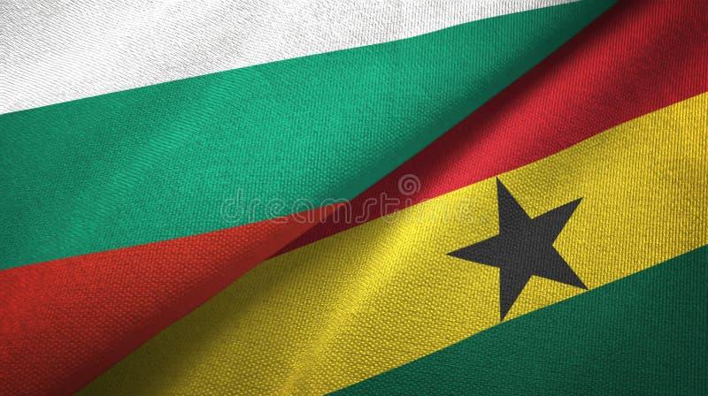 Bułgaria i Ghana dwa flagi tekstylny płótno, tkaniny tekstura ilustracji