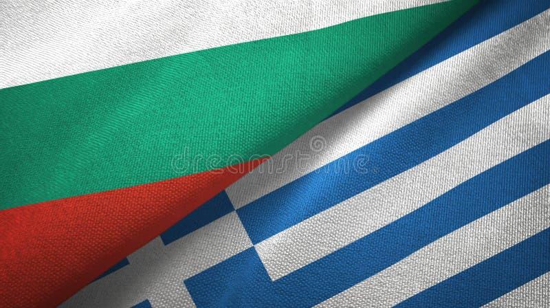 Bułgaria i Grecja dwa flagi tekstylny płótno, tkaniny tekstura royalty ilustracja