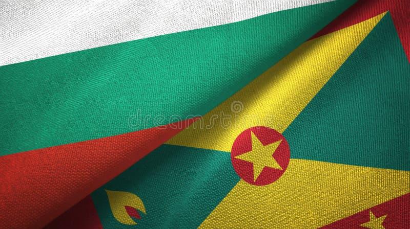 Bułgaria i Grenada dwa flagi tekstylny płótno, tkaniny tekstura royalty ilustracja