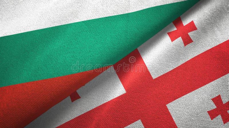 Bułgaria i Gruzja dwa flagi tekstylny płótno, tkaniny tekstura ilustracja wektor