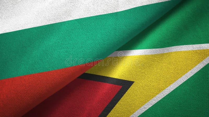 Bułgaria i Guyana dwa flagi tekstylny płótno, tkaniny tekstura royalty ilustracja