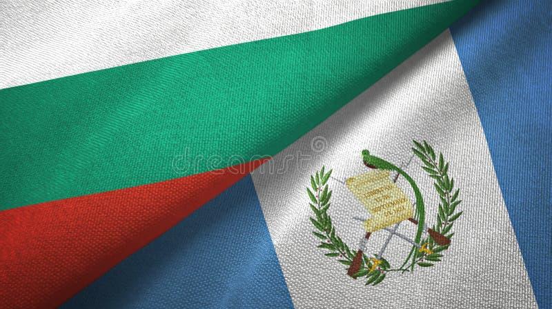 Bułgaria i Gwatemala dwa flagi tekstylny płótno, tkaniny tekstura ilustracja wektor