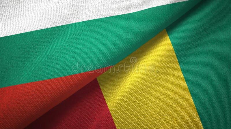 Bułgaria i gwinei dwa flagi tekstylny płótno, tkaniny tekstura ilustracja wektor