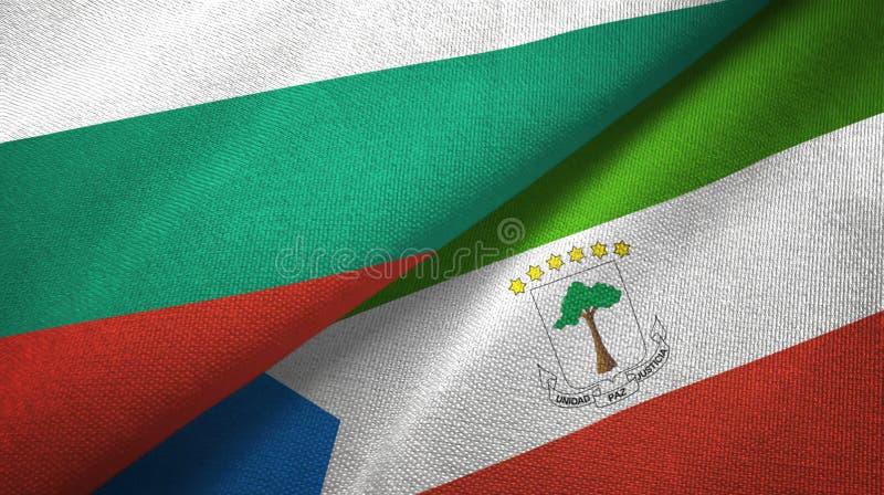 Bułgaria i gwinei równikowej dwa flagi tekstylny płótno, tkaniny tekstura ilustracji