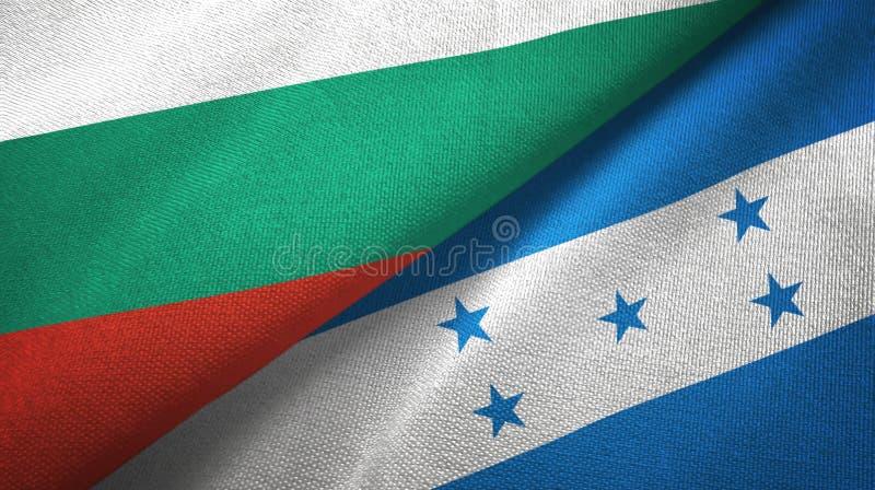 Bułgaria i Honduras dwa flagi tekstylny płótno, tkaniny tekstura ilustracji