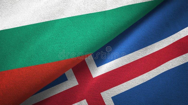 Bułgaria i Iceland dwa flagi tekstylny płótno, tkaniny tekstura ilustracja wektor