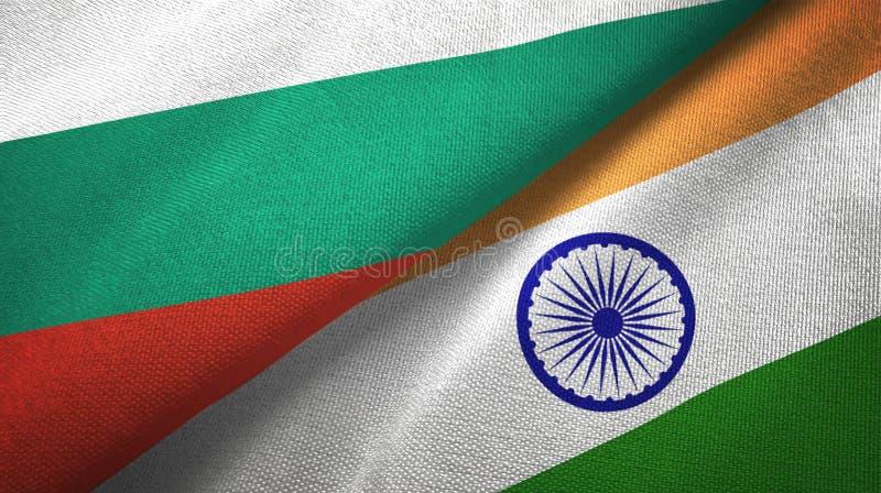 Bułgaria i India dwa flagi tekstylny płótno, tkaniny tekstura royalty ilustracja
