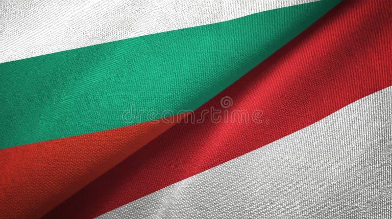 Bułgaria i Indonezja dwa flagi tekstylny płótno, tkaniny tekstura ilustracji