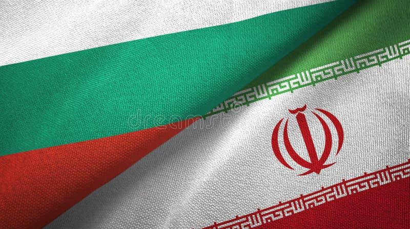Bułgaria i Iran dwa flagi tekstylny płótno, tkaniny tekstura ilustracji