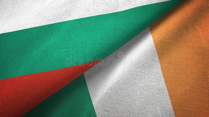 Bułgaria i Irlandia dwa flagi tekstylny płótno, tkaniny tekstura ilustracja wektor
