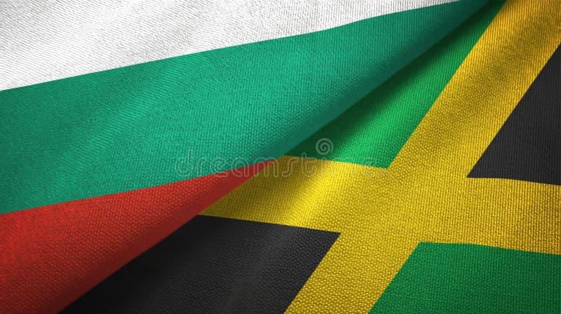 Bułgaria i Jamajka dwa flagi tekstylny płótno, tkaniny tekstura ilustracja wektor