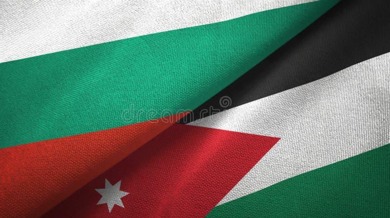 Bułgaria i Jordania dwa flagi tekstylny płótno, tkaniny tekstura ilustracja wektor