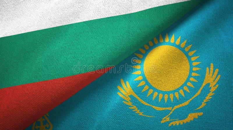 Bułgaria i Kazachstan dwa flagi tekstylny płótno, tkaniny tekstura ilustracji