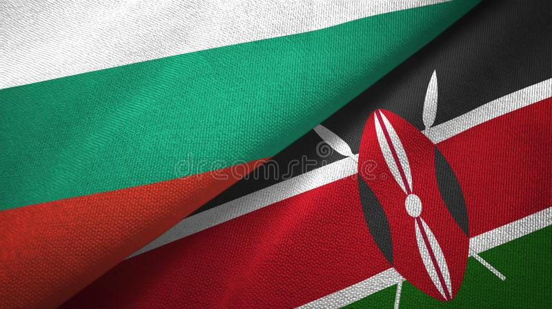 Bułgaria i Kenja dwa flagi tekstylny płótno, tkaniny tekstura royalty ilustracja