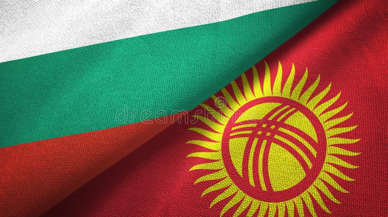Bułgaria i Kirgistan dwa flagi tekstylny płótno, tkaniny tekstura ilustracji