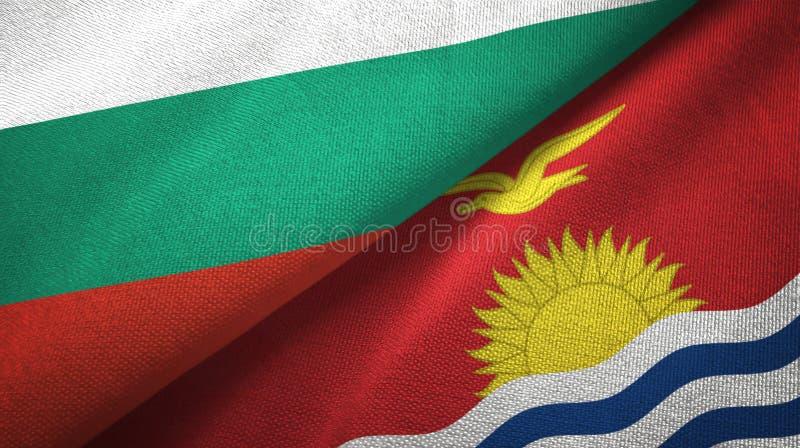 Bułgaria i Kiribati dwa flagi tekstylny płótno, tkaniny tekstura royalty ilustracja