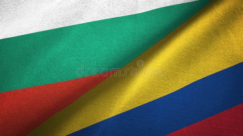 Bułgaria i Kolumbia dwa flagi tekstylny płótno, tkaniny tekstura royalty ilustracja