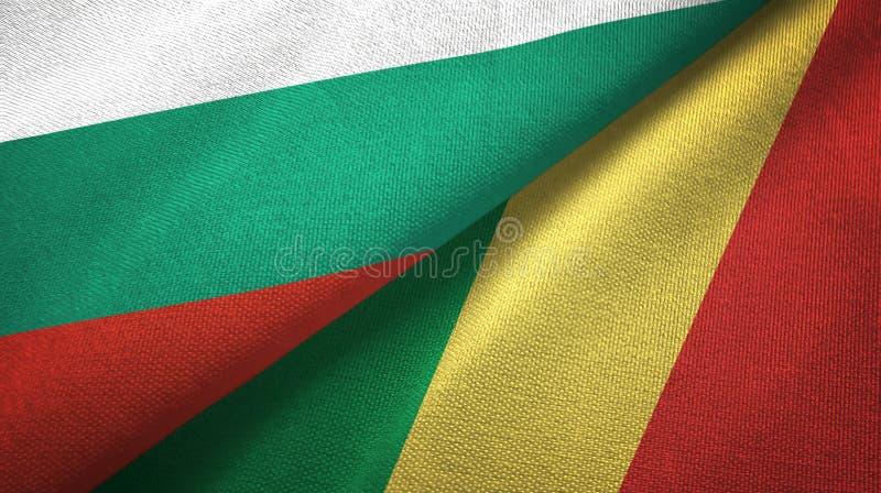 Bułgaria i Kongo dwa flagi tekstylny płótno, tkaniny tekstura royalty ilustracja