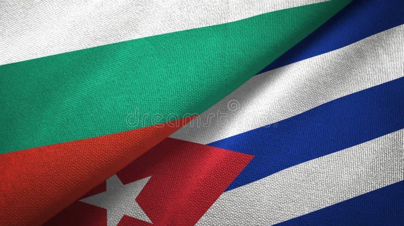 Bułgaria i Kuba dwa flagi tekstylny płótno, tkaniny tekstura royalty ilustracja