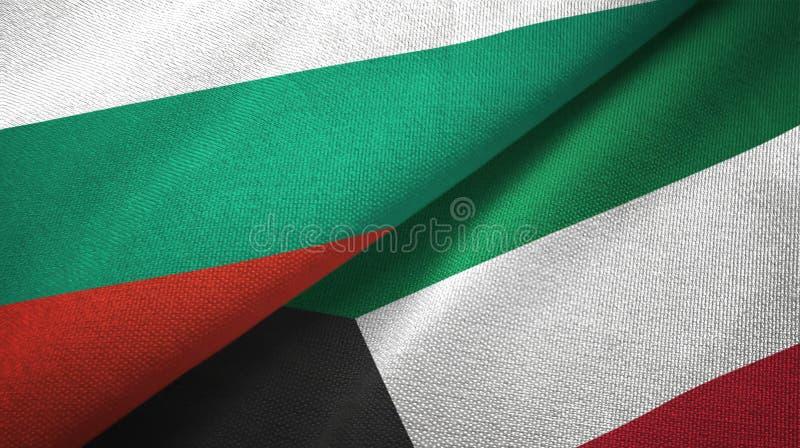 Bułgaria i Kuwejt dwa flagi tekstylny płótno, tkaniny tekstura ilustracji