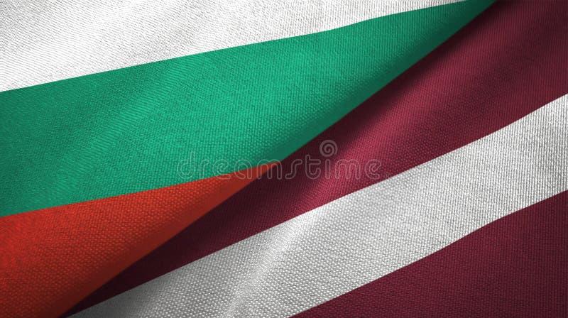 Bułgaria i Latvia dwa flagi tekstylny płótno, tkaniny tekstura ilustracja wektor