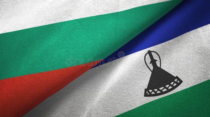 Bułgaria i Lesotho dwa flagi tekstylny płótno, tkaniny tekstura royalty ilustracja