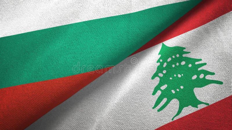 Bułgaria i Liban dwa flagi tekstylny płótno, tkaniny tekstura ilustracja wektor