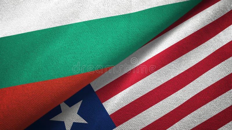 Bułgaria i Liberia dwa flagi tekstylny płótno, tkaniny tekstura ilustracji