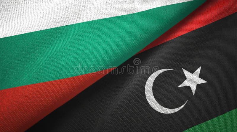 Bułgaria i Libia dwa flagi tekstylny płótno, tkaniny tekstura ilustracji