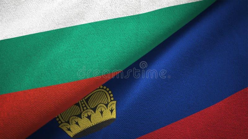 Bułgaria i Liechtenstein dwa flagi tekstylny płótno, tkaniny tekstura ilustracji