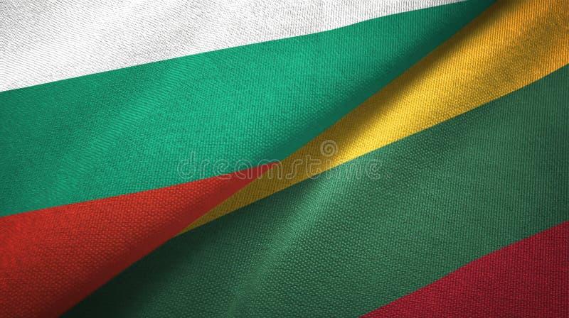 Bułgaria i Lithuania dwa flagi tekstylny płótno, tkaniny tekstura ilustracja wektor
